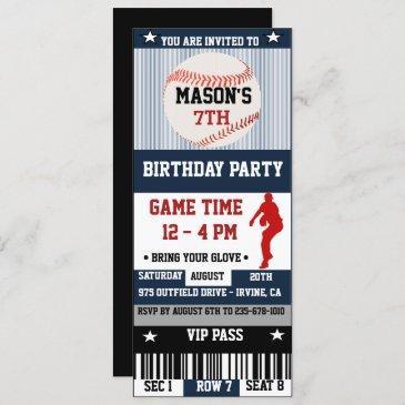 baseball birthday ticket invitation