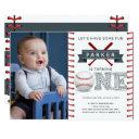 baseball first birthday boy photo invitation