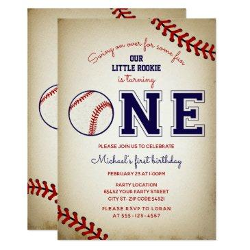 baseball first birthday party invitation