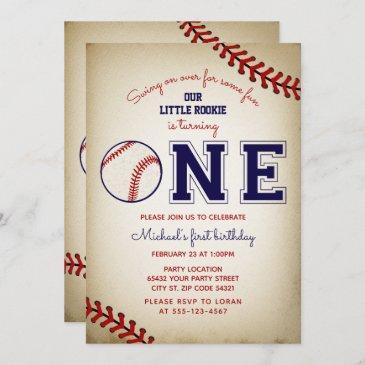 baseball first birthday party invitation