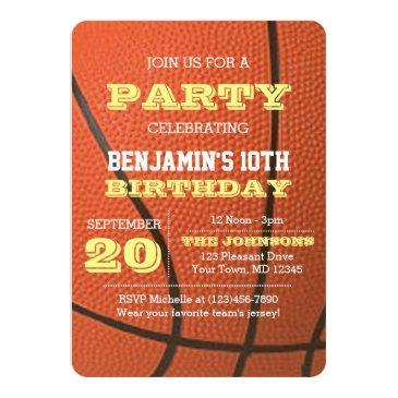 basketball birthday all occasion invitations