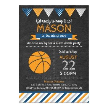 Small Basketball Birthday Invitations Front View