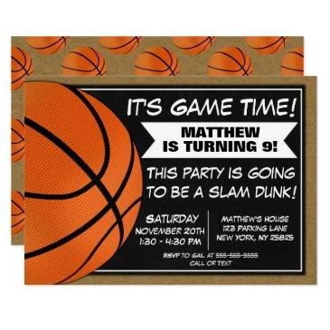 basketball birthday party invitations fans