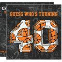 basketball chalkboard 40th birthday party invitation