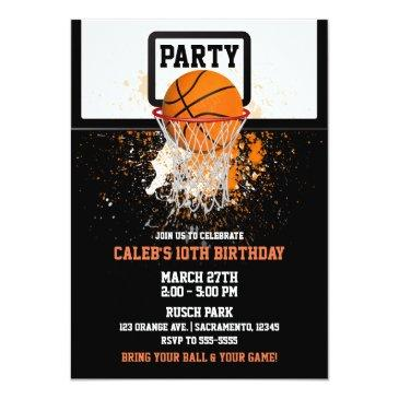 Small Basketball & Hoop Sports Birthday Party Invitations Front View