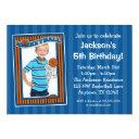 basketball photo birthday party blue invitations
