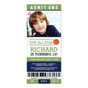 Small Basketball Ticket Birthday Invites Front View