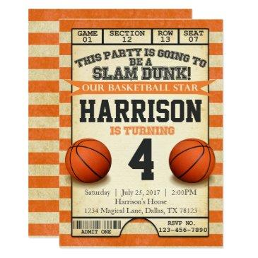 basketball ticket birthday party invitations invite