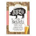 bbq & beer rustic string lights birthday party invitation