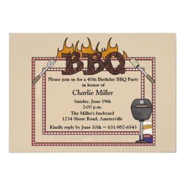 bbq frame - birthday party invitations