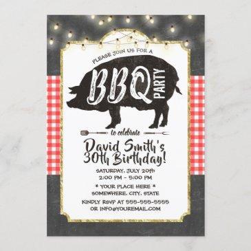 bbq pig roast birthday party vintage chalkboard invitation