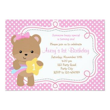 bear invitation (girl - with star) pink polka dot