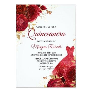 Small Beautiful Red Roses Sparkle Dress Quinceanera Invitation Front View