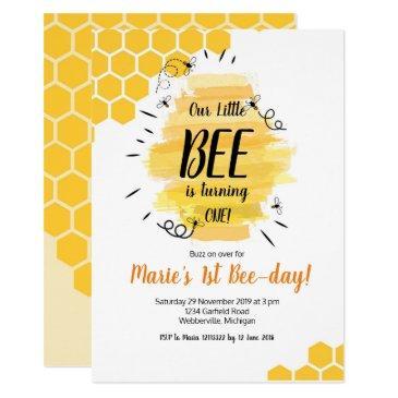 bee 1st birthday party invitation