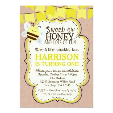 bee birthday invitations for boy or girl