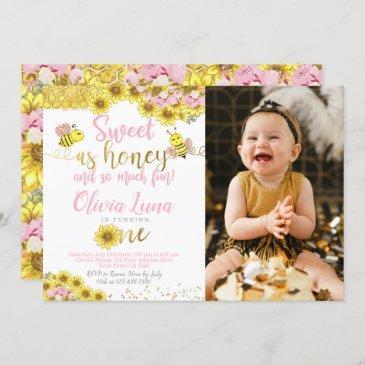 bee first birthday invitation