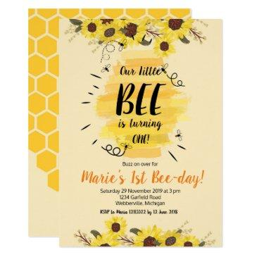 bee sunflower 1st birthday party invitation