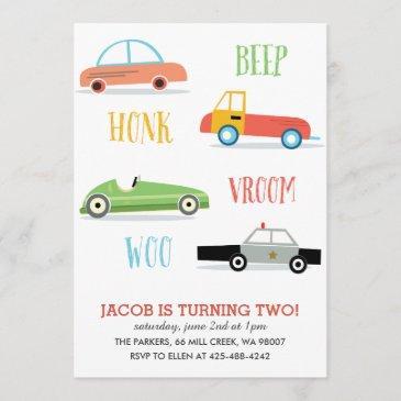 beep honk woo kid's birthday party invitation
