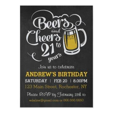 Small Beers And Cheers To 21 Years Birthday Invitation Front View