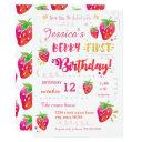 berry first strawberry birthday pary invitation