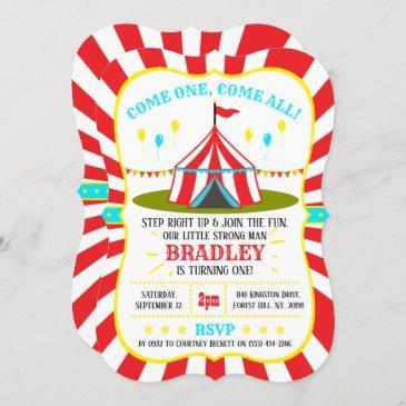 big top circus carnival 1st birthday invitation