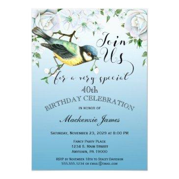 bird nature birthday party invitations blue floral