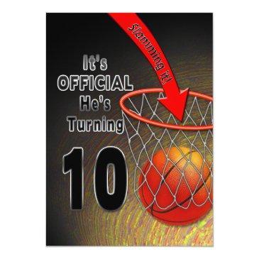birthday - basketball - 10th invitation