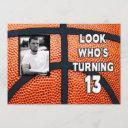 birthday - basketball - 13th invitation/photo invitation