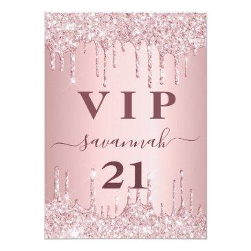 Small Birthday Blush Pink Glitter Drips Vip Invitation Badge Front View