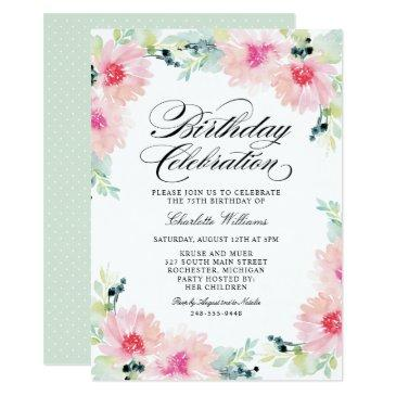birthday celebration | spring floral watercolor invitations