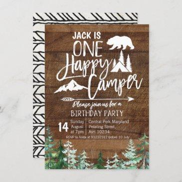 birthday forest camping party kraft camper invitation
