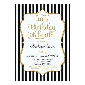 Small Birthday Invitation Black Gold Elegant Stripe Front View