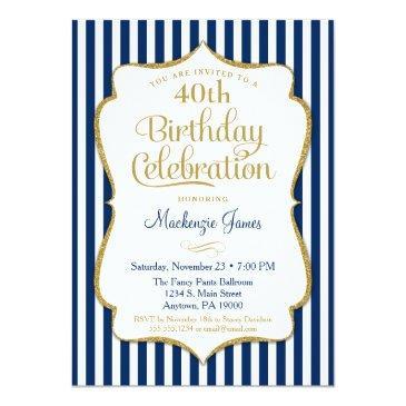 birthday invitations navy blue gold adult