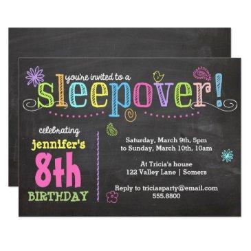 birthday invitations-sleepover party, chalk + neon invitations