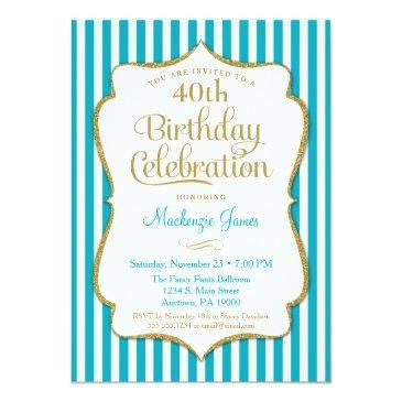 birthday invitations turquoise aqua gold adult teen