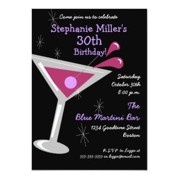 birthday martini cocktail invitations