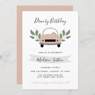 birthday parade drive by pink car green foliage invitation