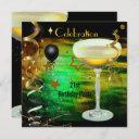 birthday party 21st celebration champagne green invitation