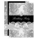 birthday party black white damask rose silver 2 invitation