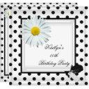 birthday party black white polka dot daisy invitation