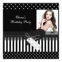 birthday party black white polka dots photo invitation