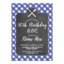 birthday party blue gingham chalk bbq invite