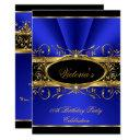 birthday party elegant royal blue gold black invitations