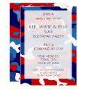 birthday party invitations red white blue camo