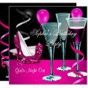 birthday party pink shoe heels wine stiletto invitation