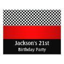 birthday party red black & white check pattern invitation