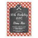 birthday party red gingham chalk bbq invite