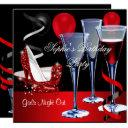 birthday party red shoe hi heels wine glass invitation