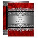 birthday party red silk silver black diamond invitation