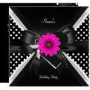 birthday party spot polka dot black white pink invitations